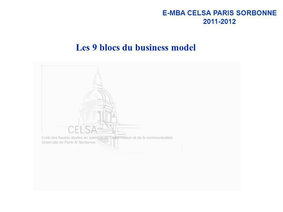 E-MBA CELSA PARIS SORBONNE 2011-2012 Les 9 blocs du business model