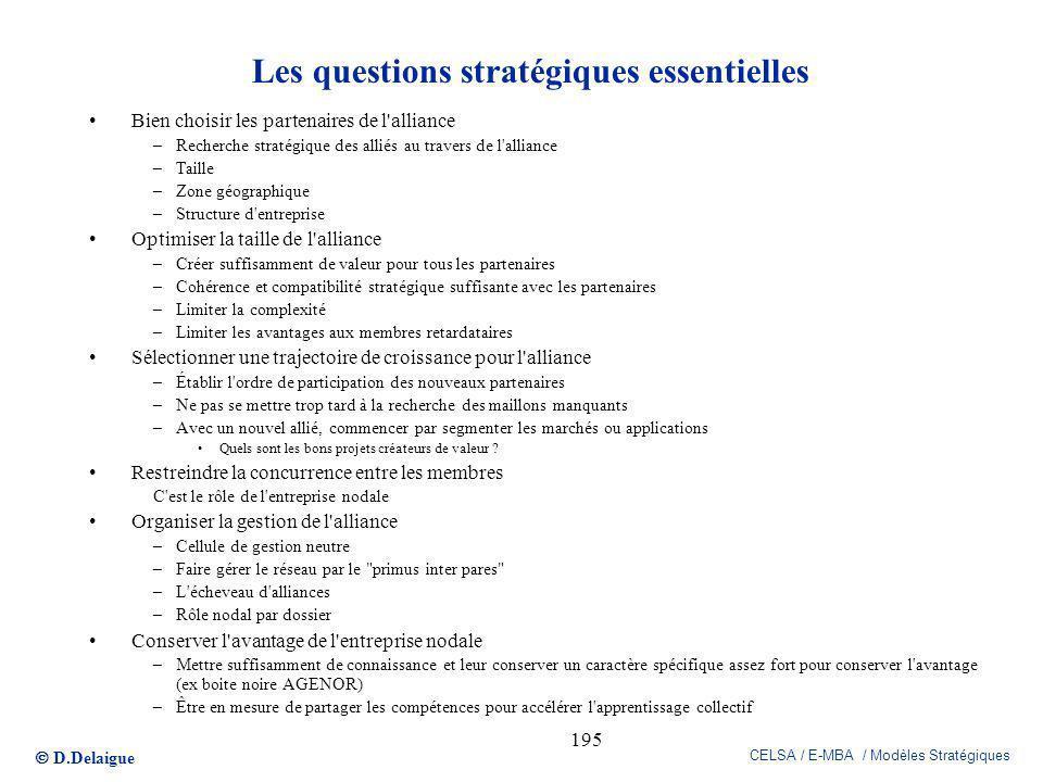D.Delaigue CELSA / E-MBA / Modèles Stratégiques 195 Les questions stratégiques essentielles Bien choisir les partenaires de l'alliance –Recherche stra