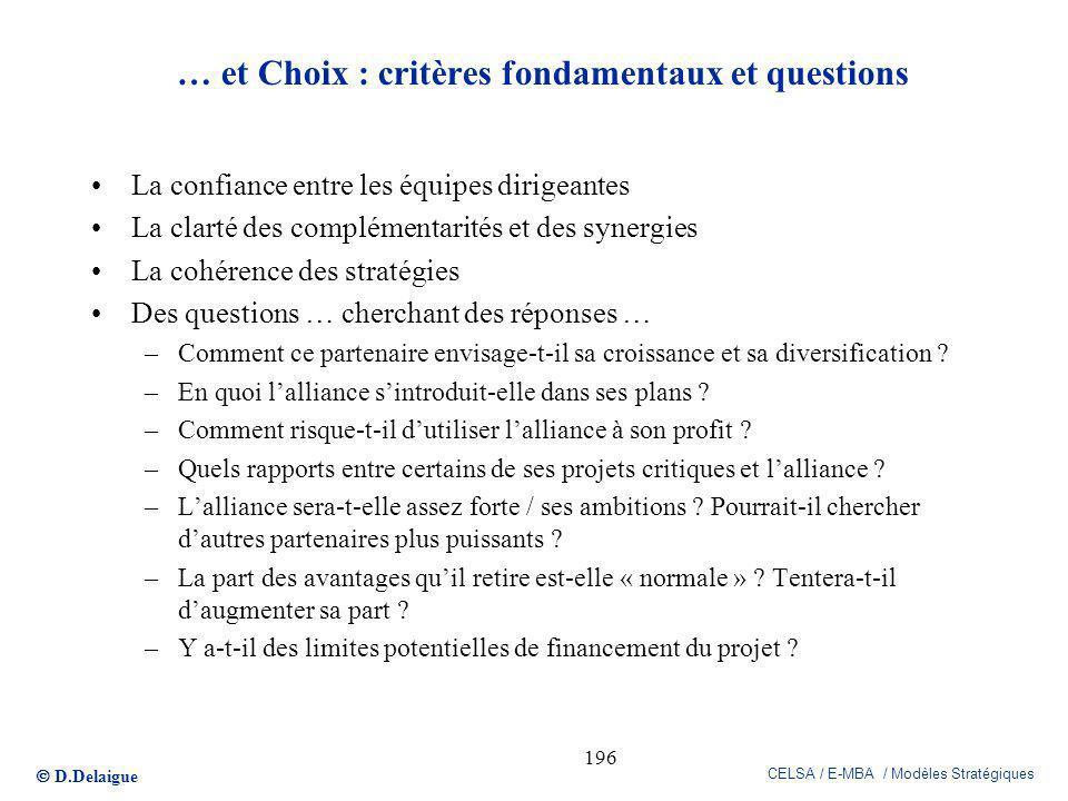 D.Delaigue CELSA / E-MBA / Modèles Stratégiques 196 … et Choix : critères fondamentaux et questions La confiance entre les équipes dirigeantes La clar