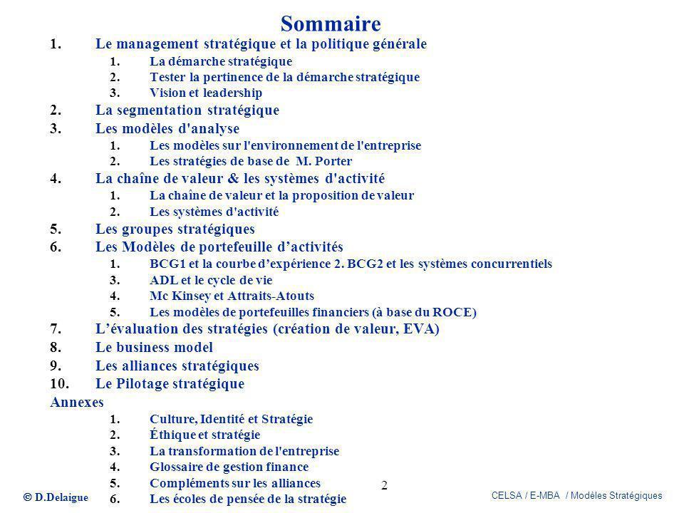 D.Delaigue CELSA / E-MBA / Modèles Stratégiques 2 Sommaire 1.Le management stratégique et la politique générale 1.La démarche stratégique 2.Tester la