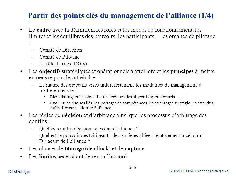 D.Delaigue CELSA / E-MBA / Modèles Stratégiques 215 Partir des points clés du management de lalliance (1/4) Le cadre avec la définition, les rôles et
