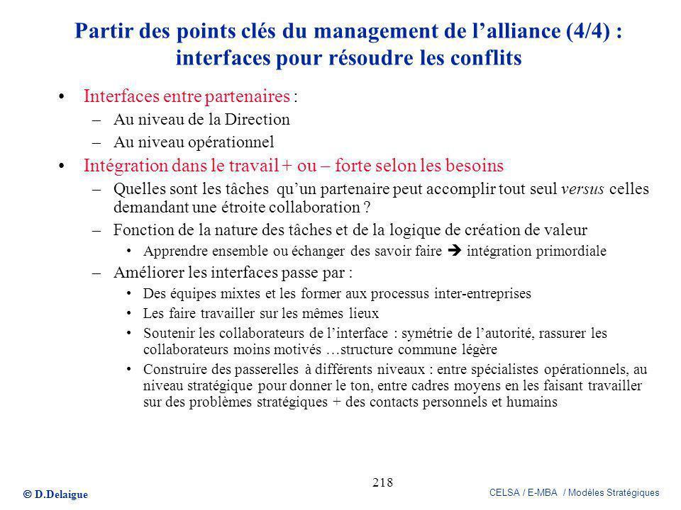D.Delaigue CELSA / E-MBA / Modèles Stratégiques 218 Partir des points clés du management de lalliance (4/4) : interfaces pour résoudre les conflits In