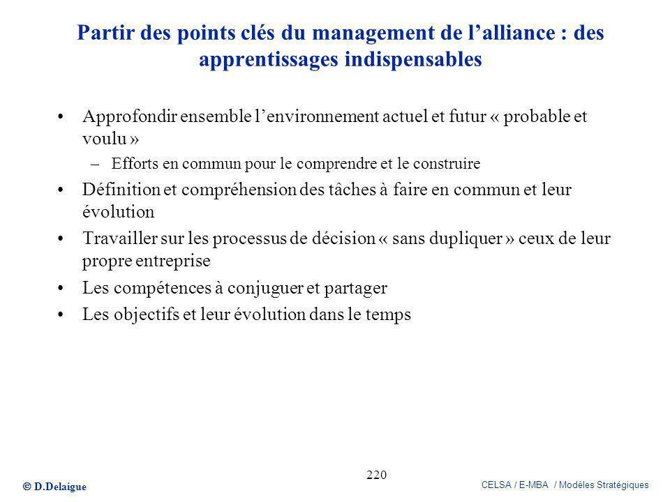 D.Delaigue CELSA / E-MBA / Modèles Stratégiques 220 Partir des points clés du management de lalliance : des apprentissages indispensables Approfondir