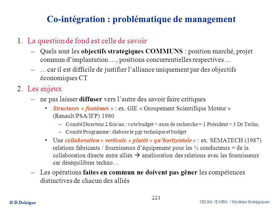 D.Delaigue CELSA / E-MBA / Modèles Stratégiques 221 Co-intégration : problématique de management 1.La question de fond est celle de savoir –Quels sont