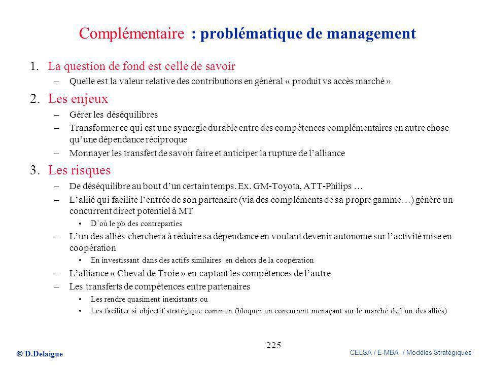 D.Delaigue CELSA / E-MBA / Modèles Stratégiques 225 Complémentaire : problématique de management 1.La question de fond est celle de savoir –Quelle est