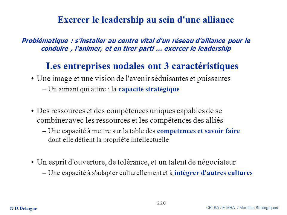 D.Delaigue CELSA / E-MBA / Modèles Stratégiques 229 Exercer le leadership au sein d'une alliance Les entreprises nodales ont 3 caractéristiques Une im