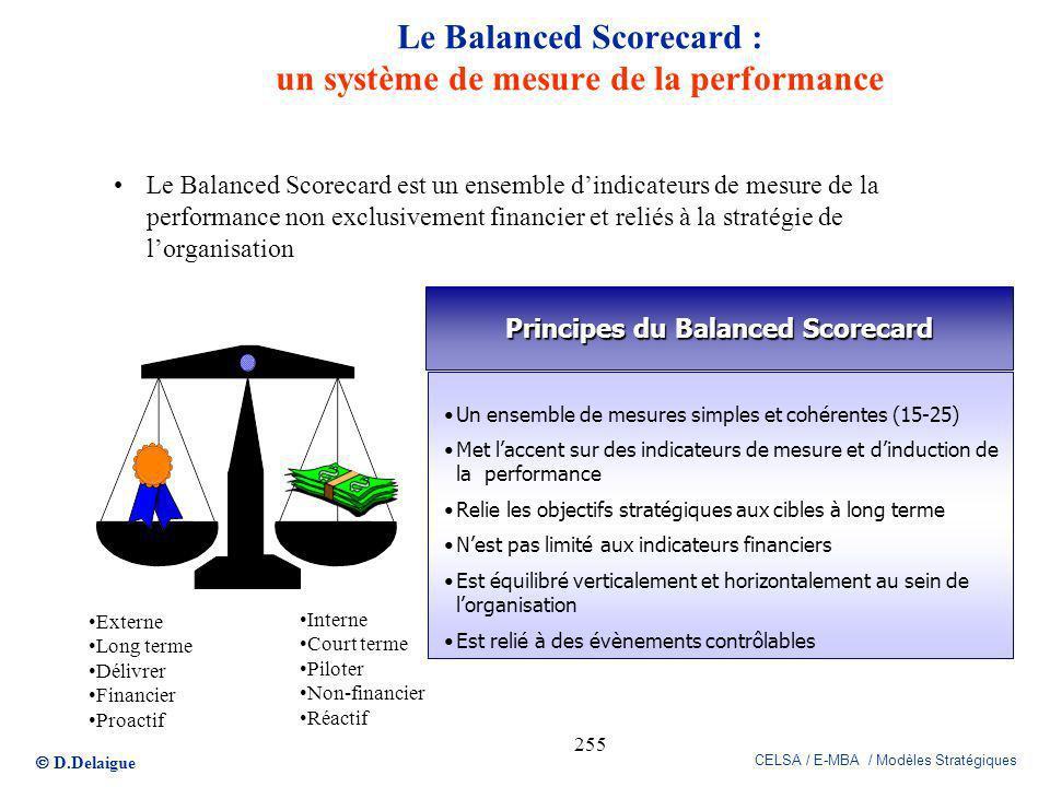 D.Delaigue CELSA / E-MBA / Modèles Stratégiques 255 Le Balanced Scorecard : un système de mesure de la performance Le Balanced Scorecard est un ensemb