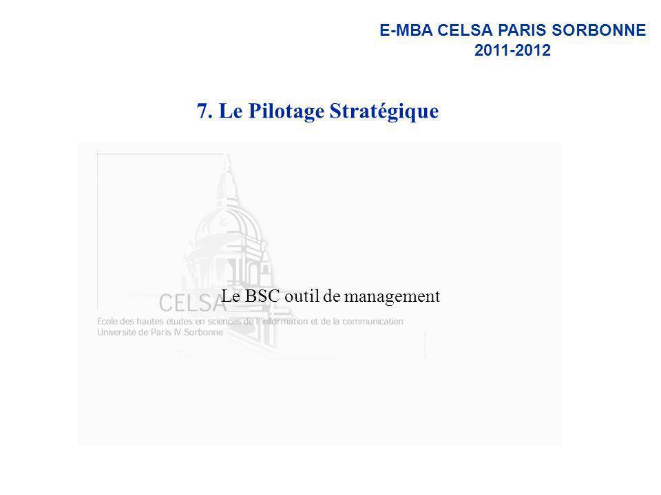 E-MBA CELSA PARIS SORBONNE 2011-2012 7. Le Pilotage Stratégique Le BSC outil de management