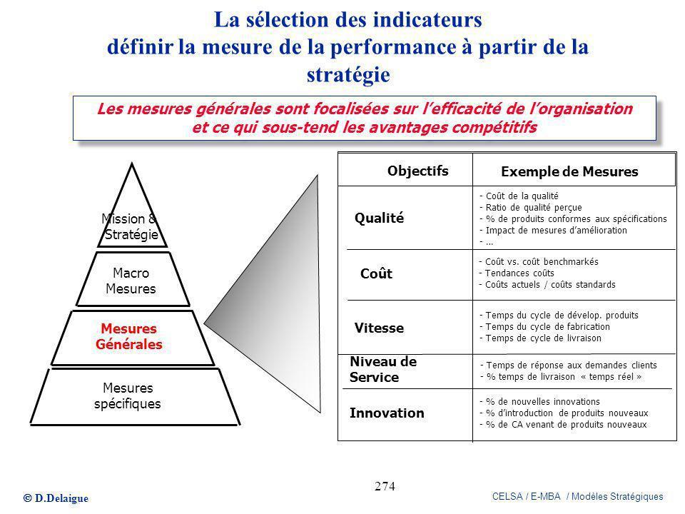 D.Delaigue CELSA / E-MBA / Modèles Stratégiques 274 Les mesures générales sont focalisées sur lefficacité de lorganisation et ce qui sous-tend les ava