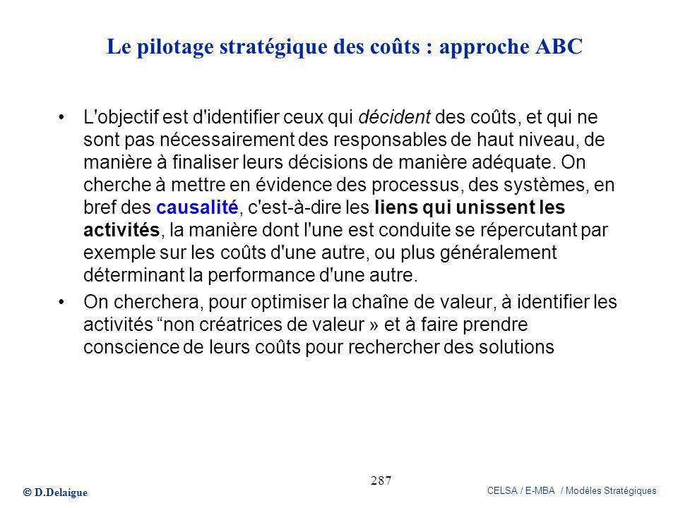 D.Delaigue CELSA / E-MBA / Modèles Stratégiques 287 Le pilotage stratégique des coûts : approche ABC L'objectif est d'identifier ceux qui décident des