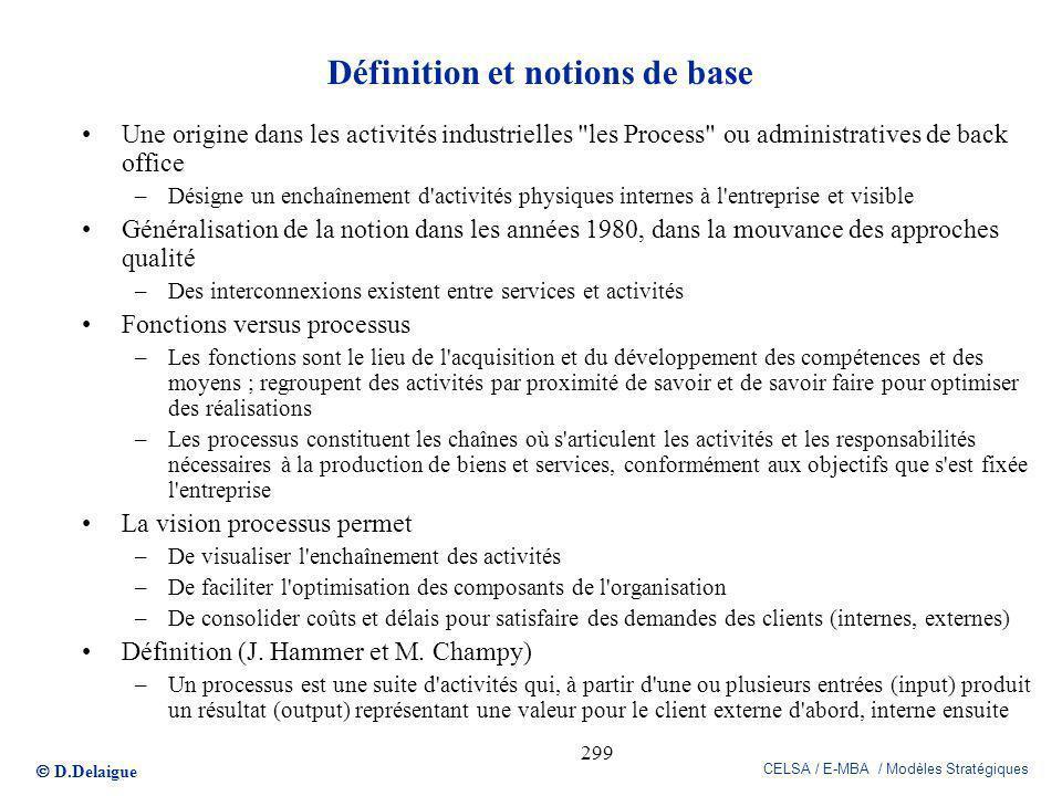 D.Delaigue CELSA / E-MBA / Modèles Stratégiques 299 Définition et notions de base Une origine dans les activités industrielles