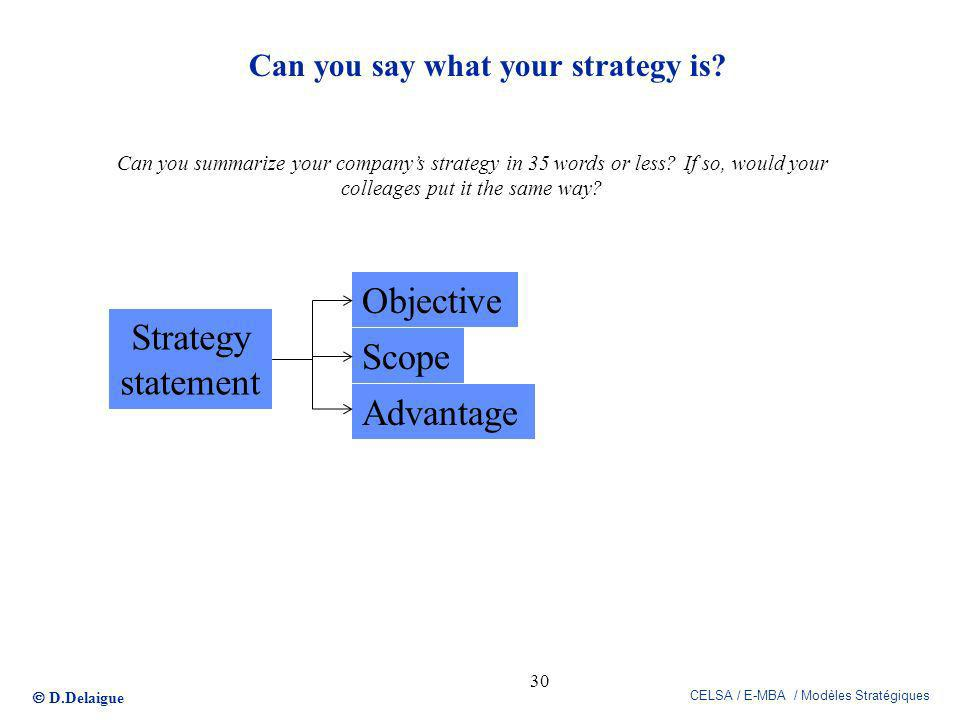 D.Delaigue CELSA / E-MBA / Modèles Stratégiques Can you say what your strategy is? 30 Can you summarize your companys strategy in 35 words or less? If