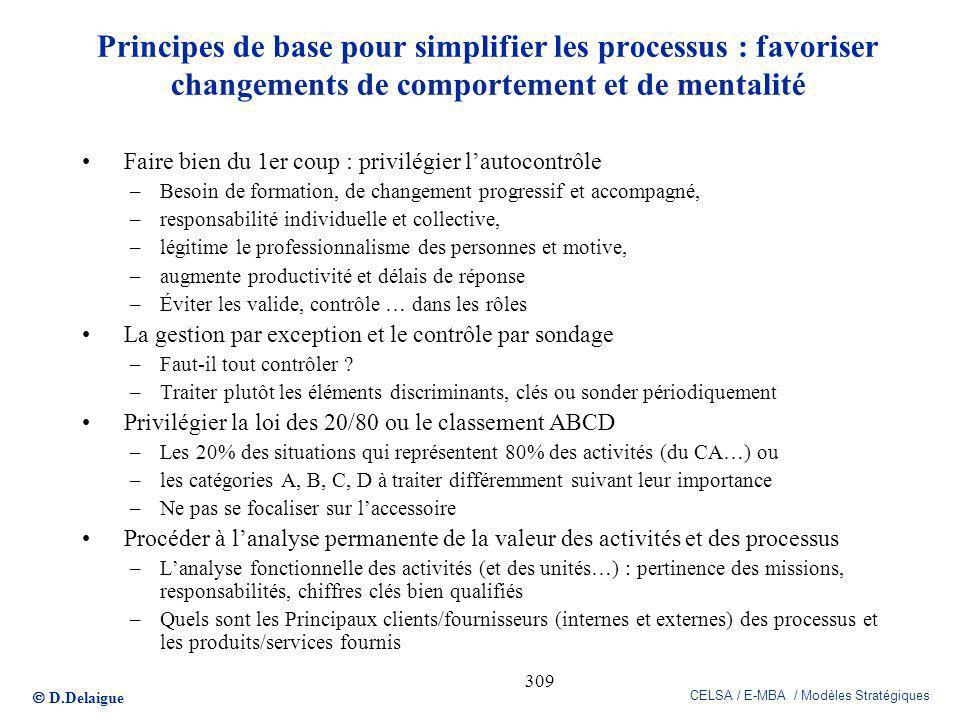 D.Delaigue CELSA / E-MBA / Modèles Stratégiques 309 Principes de base pour simplifier les processus : favoriser changements de comportement et de ment