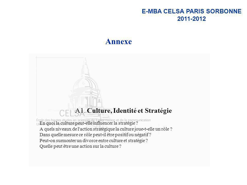 E-MBA CELSA PARIS SORBONNE 2011-2012 Annexe A1. Culture, Identité et Stratégie En quoi la culture peut-elle influencer la stratégie ? A quels niveaux