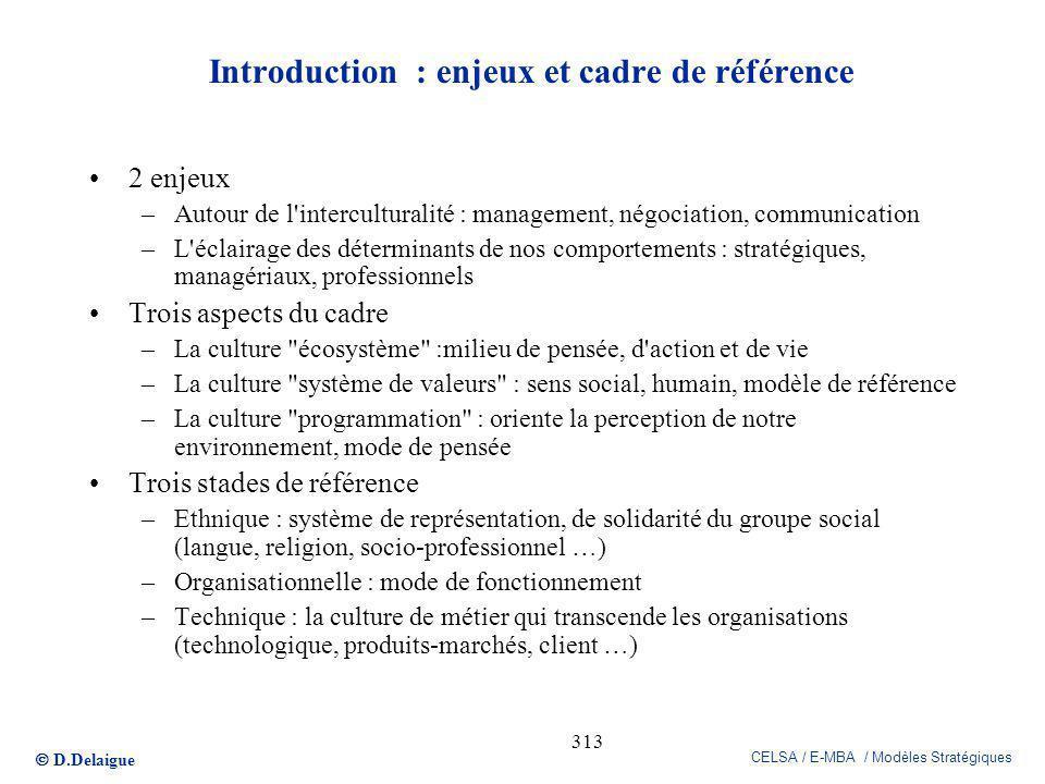 D.Delaigue CELSA / E-MBA / Modèles Stratégiques 313 Introduction : enjeux et cadre de référence 2 enjeux –Autour de l'interculturalité : management, n