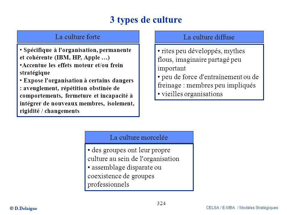 D.Delaigue CELSA / E-MBA / Modèles Stratégiques 324 3 types de culture Spécifique à l'organisation, permanente et cohérente (IBM, HP, Apple …) Accentu
