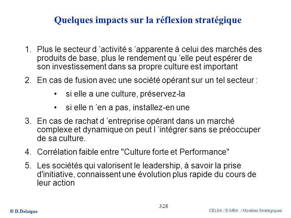 D.Delaigue CELSA / E-MBA / Modèles Stratégiques 328 Quelques impacts sur la réflexion stratégique 1.Plus le secteur d activité s apparente à celui des