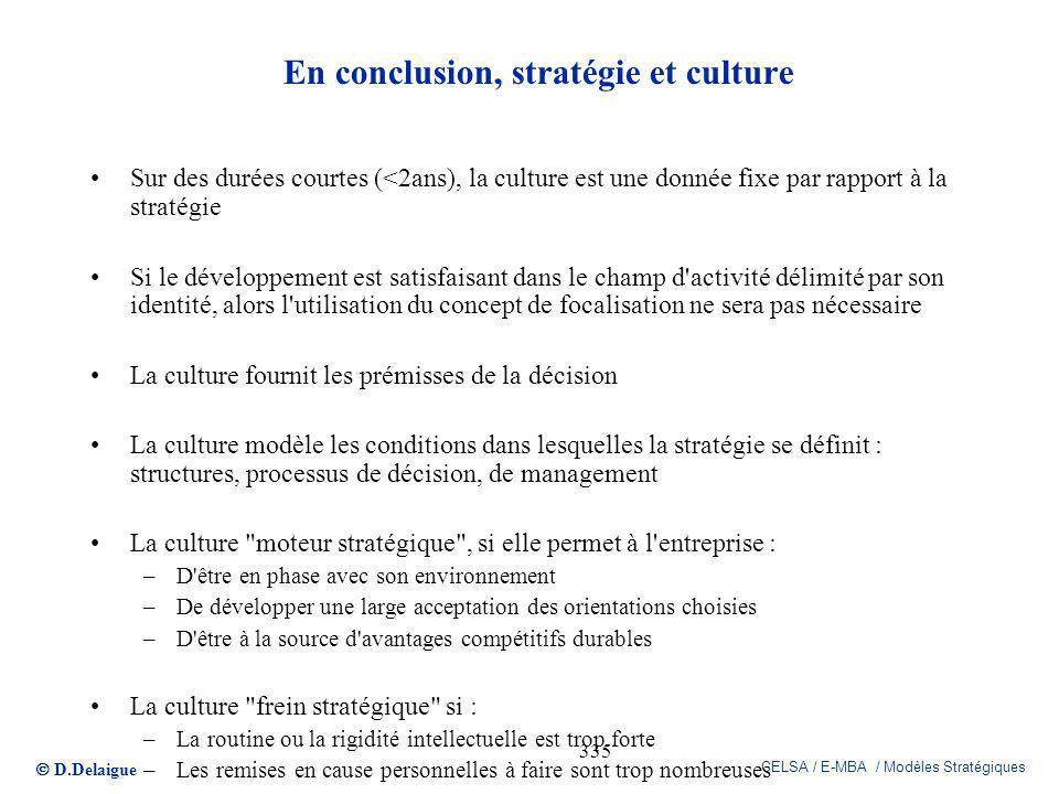 D.Delaigue CELSA / E-MBA / Modèles Stratégiques 335 En conclusion, stratégie et culture Sur des durées courtes (<2ans), la culture est une donnée fixe