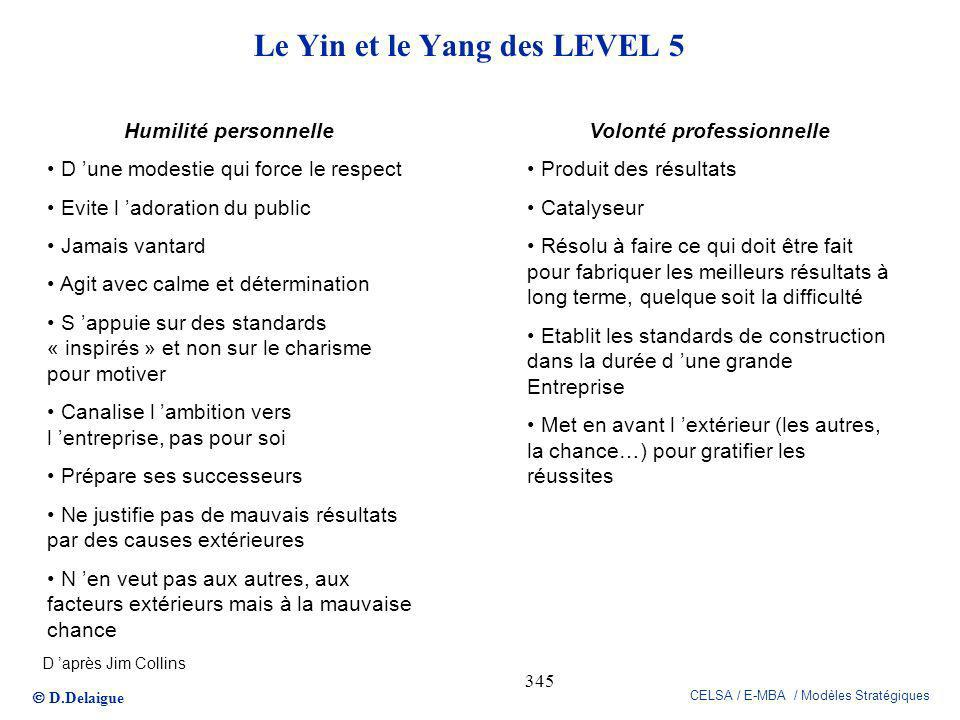 D.Delaigue CELSA / E-MBA / Modèles Stratégiques 345 Le Yin et le Yang des LEVEL 5 Humilité personnelle D une modestie qui force le respect Evite l ado