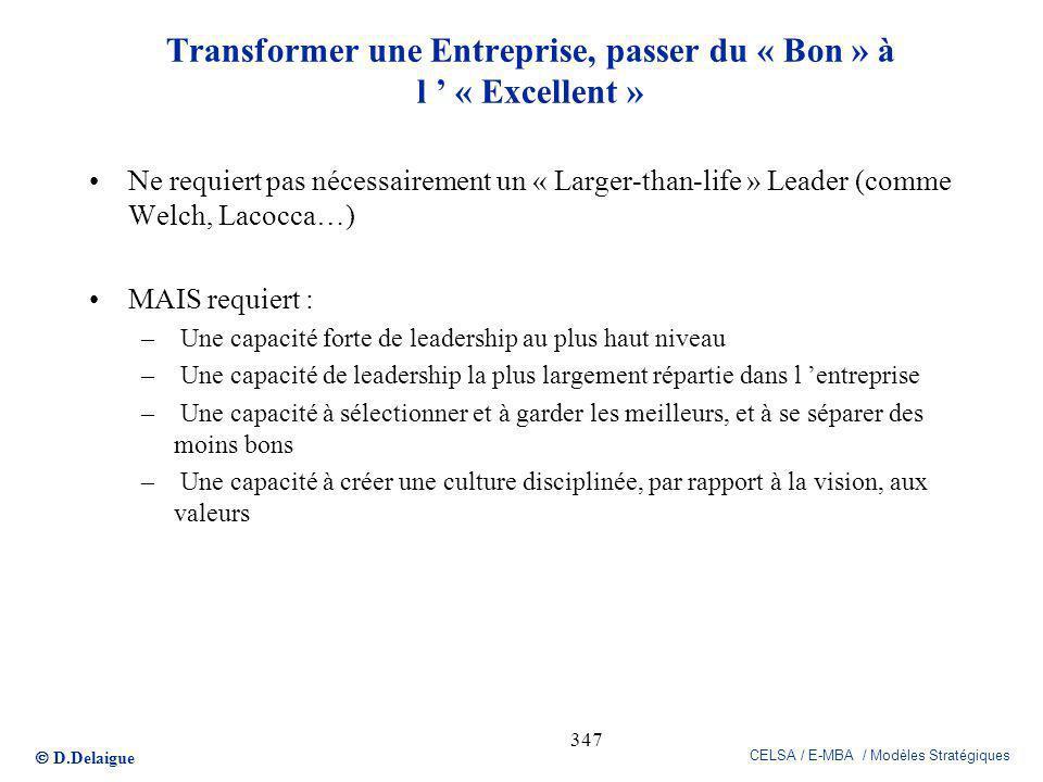 D.Delaigue CELSA / E-MBA / Modèles Stratégiques 347 Transformer une Entreprise, passer du « Bon » à l « Excellent » Ne requiert pas nécessairement un