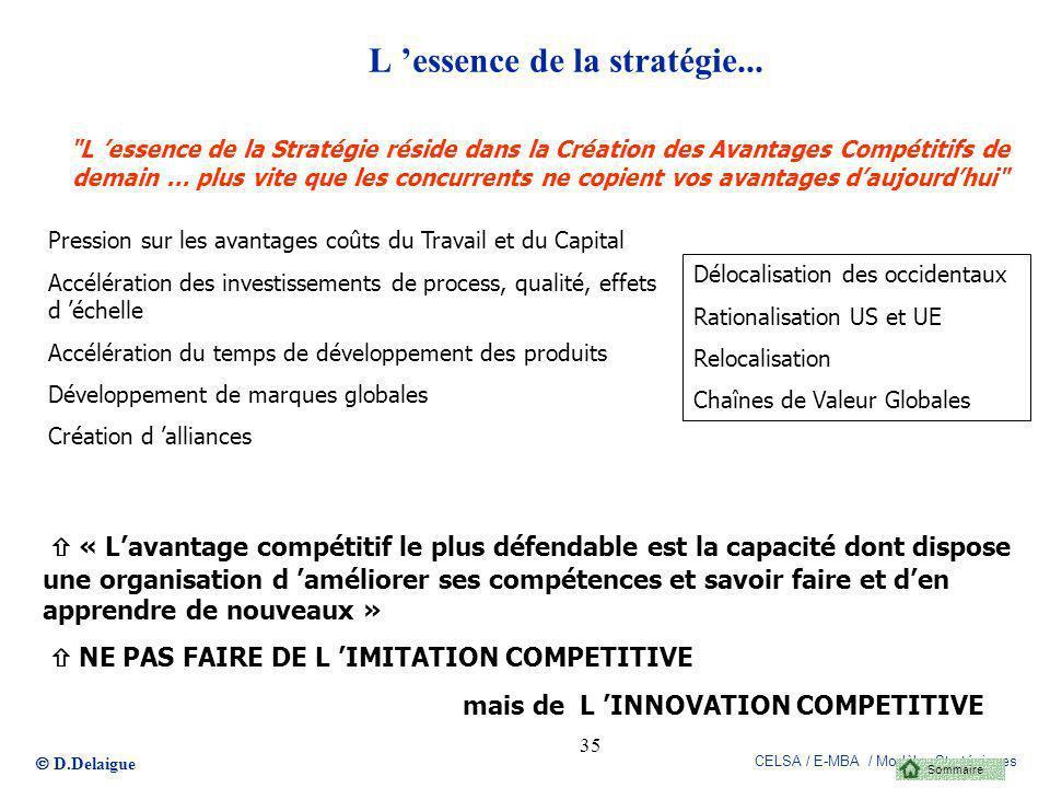 D.Delaigue CELSA / E-MBA / Modèles Stratégiques 35 L essence de la stratégie...