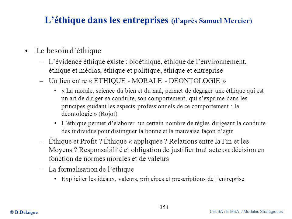 D.Delaigue CELSA / E-MBA / Modèles Stratégiques 354 Léthique dans les entreprises (daprès Samuel Mercier) Le besoin déthique –Lévidence éthique existe