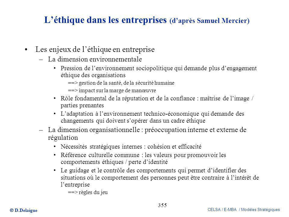D.Delaigue CELSA / E-MBA / Modèles Stratégiques 355 Léthique dans les entreprises (daprès Samuel Mercier) Les enjeux de léthique en entreprise –La dim