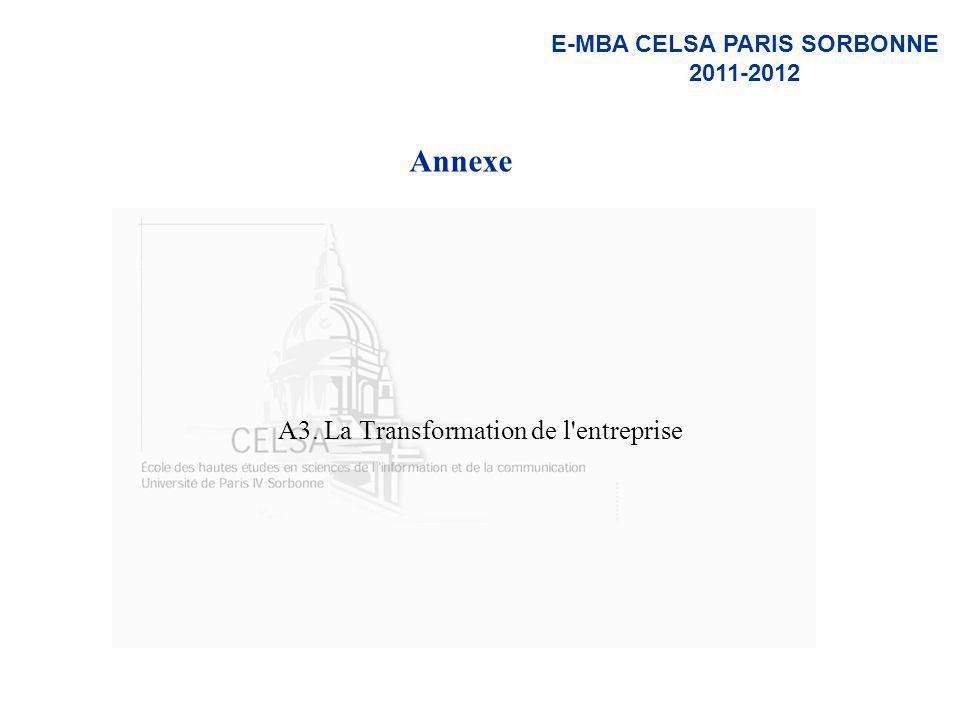E-MBA CELSA PARIS SORBONNE 2011-2012 Annexe A3. La Transformation de l'entreprise