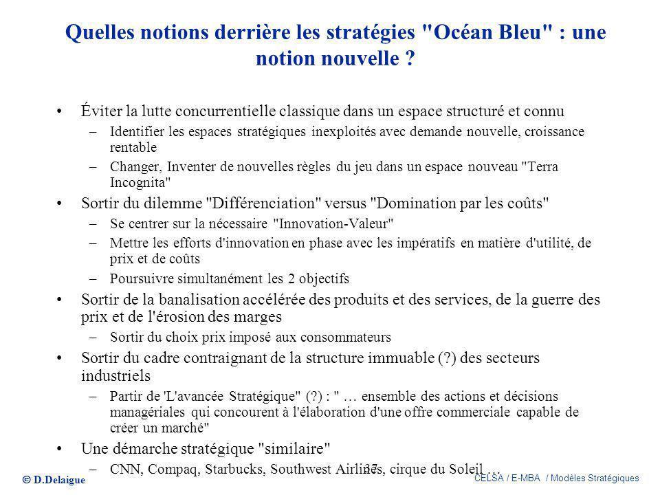 D.Delaigue CELSA / E-MBA / Modèles Stratégiques 37 Quelles notions derrière les stratégies