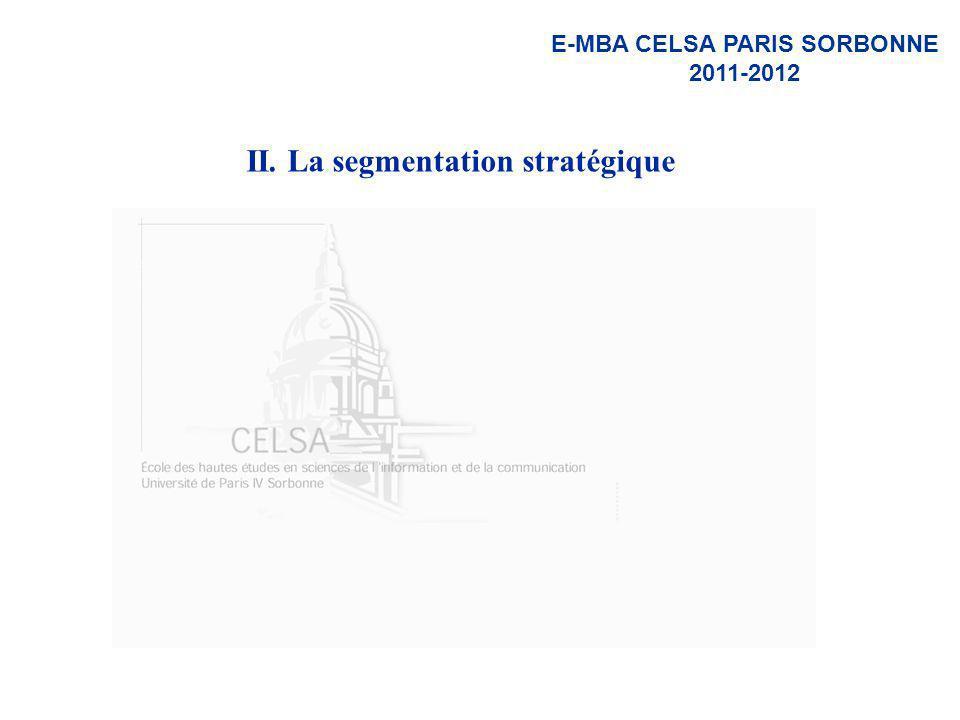 E-MBA CELSA PARIS SORBONNE 2011-2012 II. La segmentation stratégique