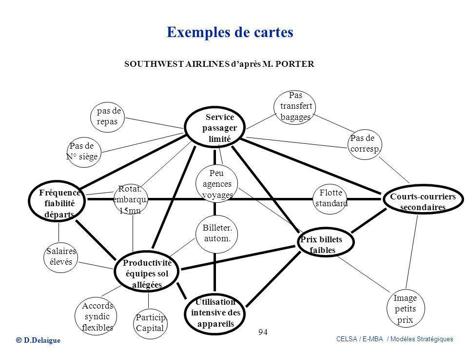 D.Delaigue CELSA / E-MBA / Modèles Stratégiques 94 Exemples de cartes Service passager limité Prix billets faibles Utilisation intensive des appareils
