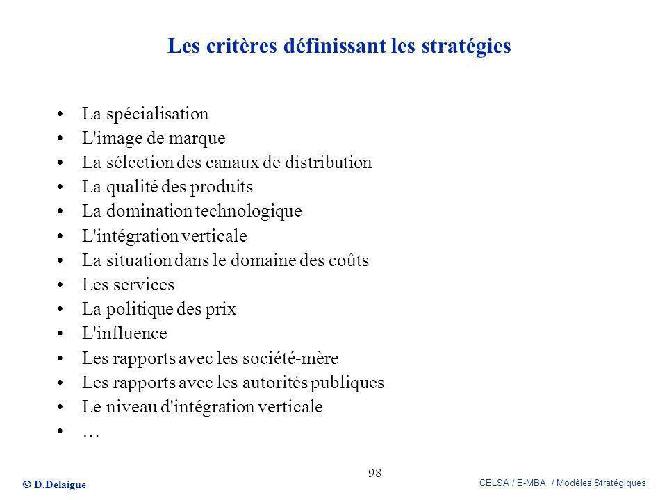 D.Delaigue CELSA / E-MBA / Modèles Stratégiques 98 Les critères définissant les stratégies La spécialisation L'image de marque La sélection des canaux