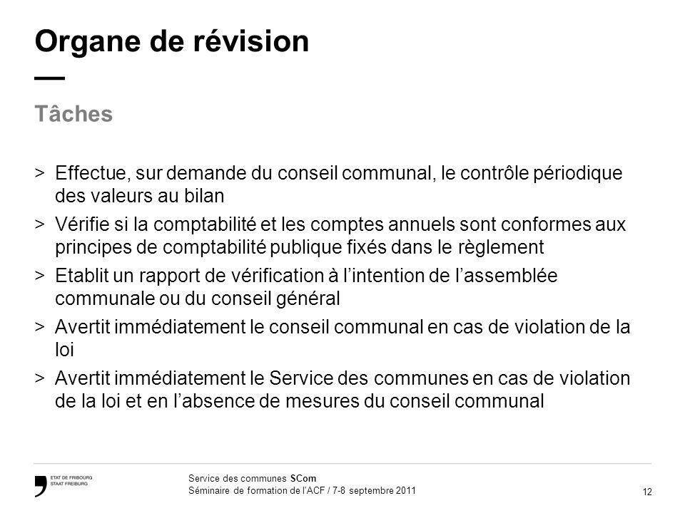 12 Service des communes SCom Séminaire de formation de l'ACF / 7-8 septembre 2011 Organe de révision >Effectue, sur demande du conseil communal, le co