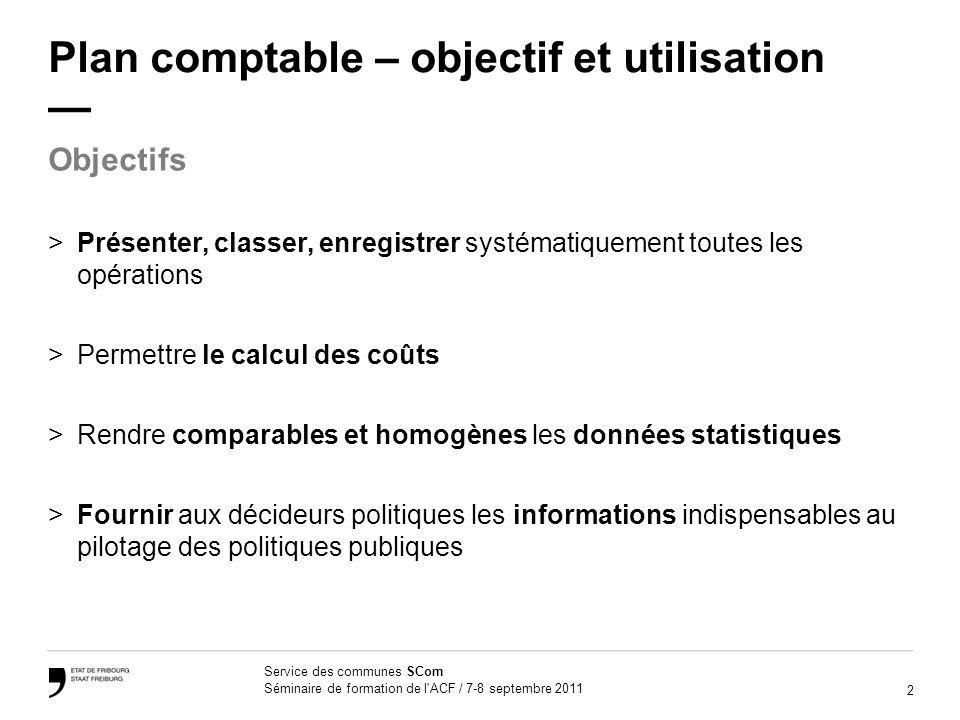 2 Service des communes SCom Séminaire de formation de l'ACF / 7-8 septembre 2011 Plan comptable – objectif et utilisation >Présenter, classer, enregis