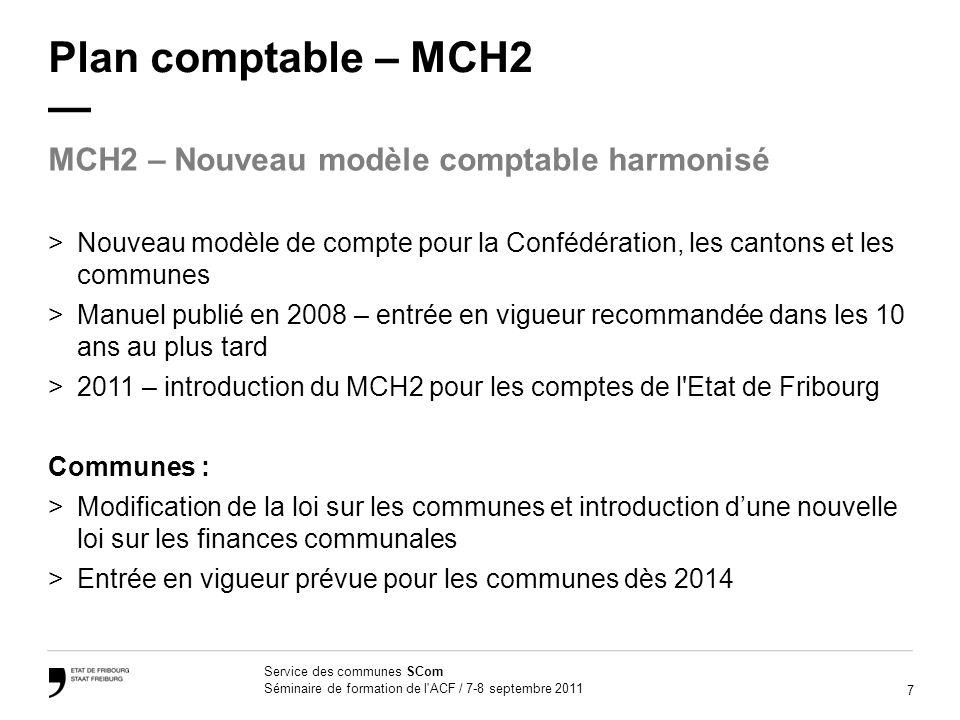 7 Service des communes SCom Séminaire de formation de l'ACF / 7-8 septembre 2011 Plan comptable – MCH2 >Nouveau modèle de compte pour la Confédération
