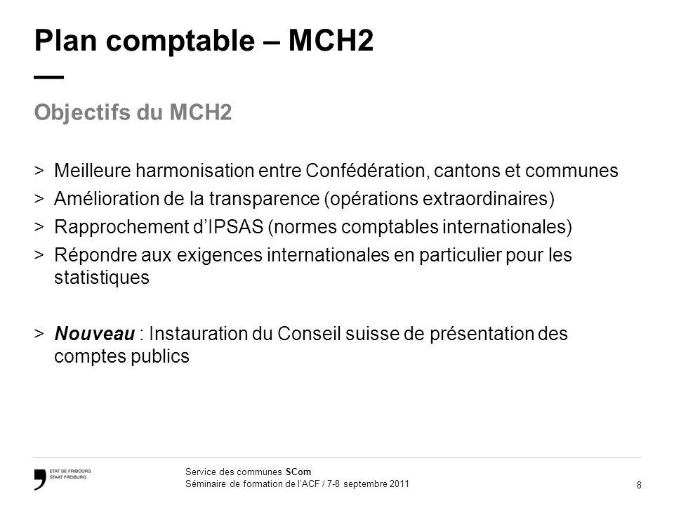 8 Service des communes SCom Séminaire de formation de l'ACF / 7-8 septembre 2011 Plan comptable – MCH2 >Meilleure harmonisation entre Confédération, c