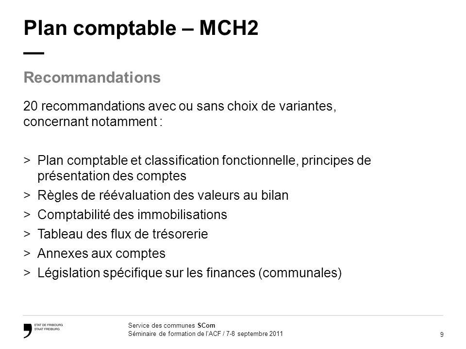 9 Service des communes SCom Séminaire de formation de l'ACF / 7-8 septembre 2011 Plan comptable – MCH2 20 recommandations avec ou sans choix de varian