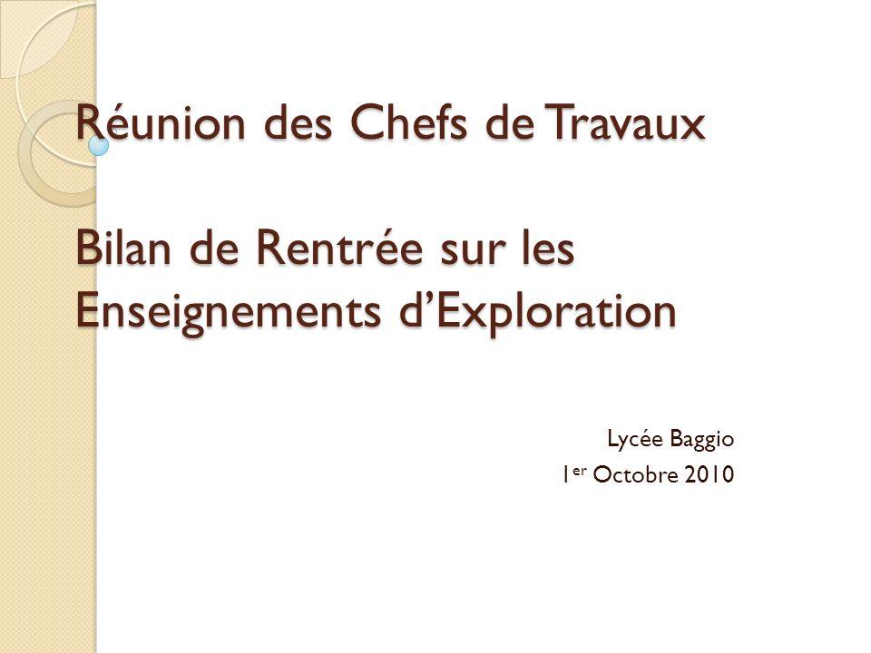Réunion des Chefs de Travaux Bilan de Rentrée sur les Enseignements dExploration Lycée Baggio 1 er Octobre 2010