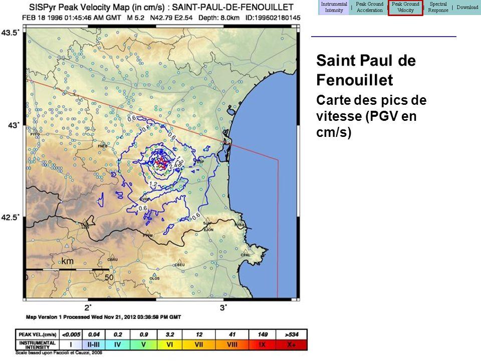 Saint Paul de Fenouillet Carte des pics de vitesse (PGV en cm/s)