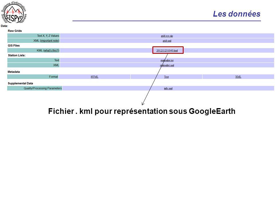 Les données Fichier. kml pour représentation sous GoogleEarth