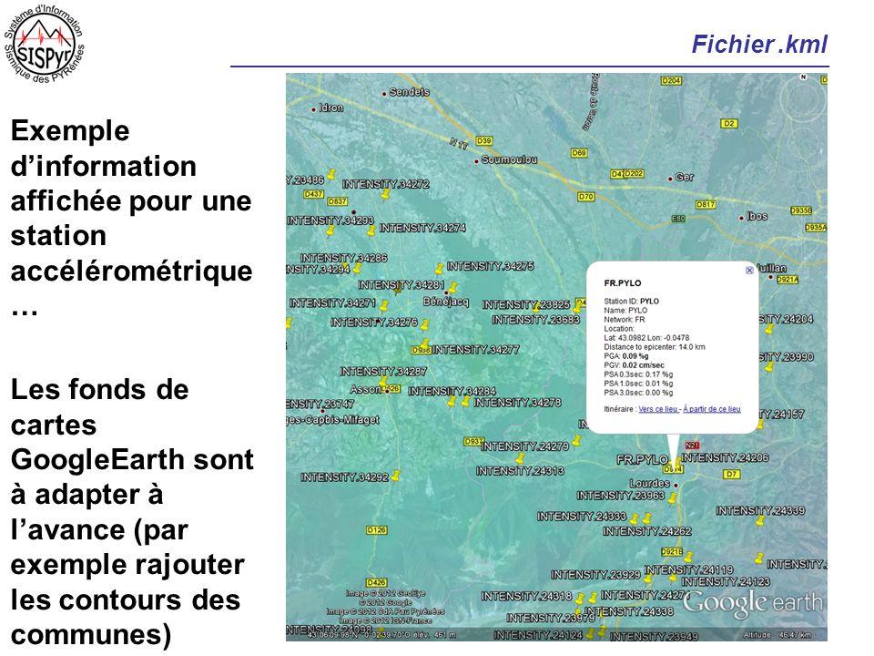 Fichier.kml Exemple dinformation affichée pour une station accélérométrique … Les fonds de cartes GoogleEarth sont à adapter à lavance (par exemple ra
