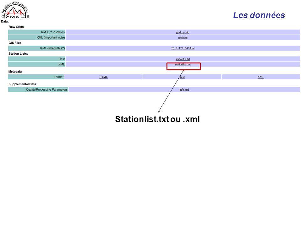 Les données Stationlist.txt ou.xml
