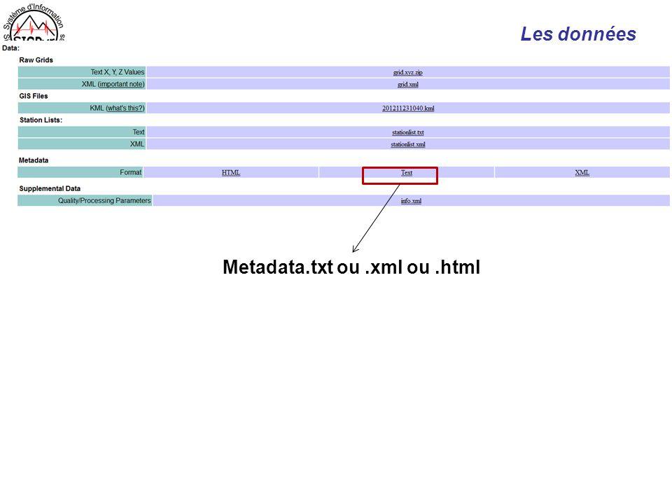 Les données Metadata.txt ou.xml ou.html