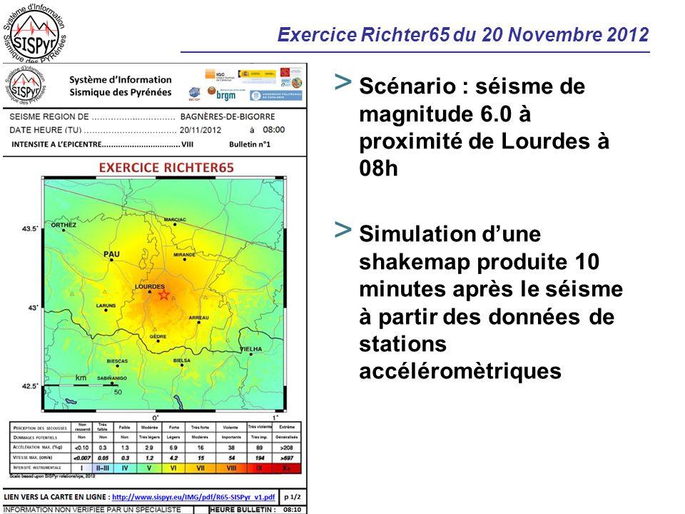 Exercice Richter65 du 20 Novembre 2012 > Scénario : séisme de magnitude 6.0 à proximité de Lourdes à 08h > Simulation dune shakemap produite 10 minute
