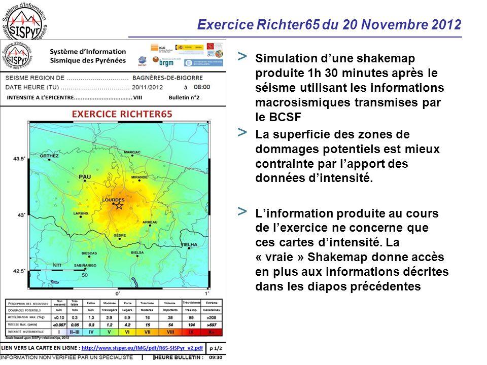 Exercice Richter65 du 20 Novembre 2012 > Simulation dune shakemap produite 1h 30 minutes après le séisme utilisant les informations macrosismiques tra