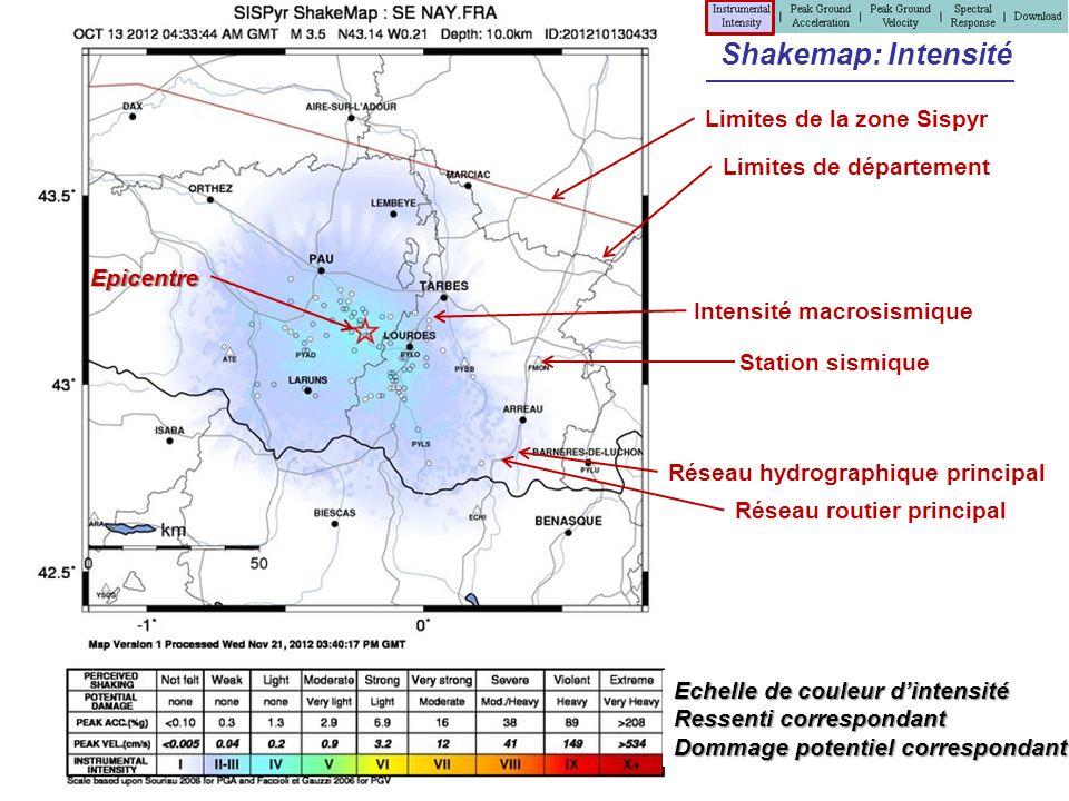 Shakemap: Intensité Limites de la zone Sispyr Station sismique Limites de département Réseau hydrographique principal Réseau routier principal Intensi