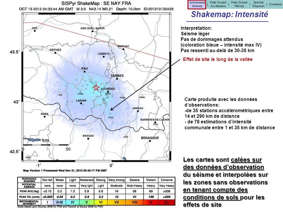 Shakemap: Intensité Interprétation: Séisme léger Pas de dommages attendus (coloration bleue – intensité max IV) Pas ressenti au-delà de 30-35 km Carte