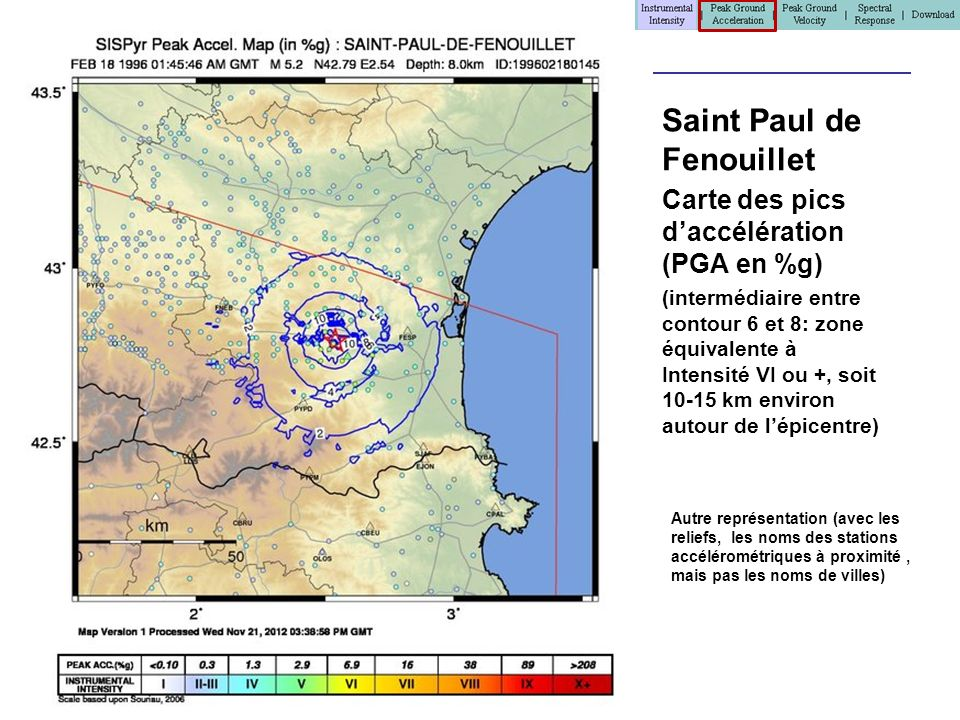 Stationlist.txt > Accès aux données mesurées pour le séisme et chaque point dobservations # Earthquake 201210130433: 10/13/2012 04:33:44 GMT, M=3.5, Lat: 43.1400, Lon: -0.2100, Depth: 10km, Bias: mmi=-0.06 pga=-1.23 pgv=-0.29 # Columns: Station Code, latitude, longitude, regression dist (km), intensity, network code, Channel 1 Code, PGV (cm/sec), PGA (%g), PSA 0.3 sec (%g), PSA 1.0 sec (%g), PSA 3.0 sec (%g), Channel 2 Code, PGV (cm/sec), PGA (%g), PSA 0.3 sec (%g), PSA 1.0 sec (%g), PSA 3.0 sec (%g), Channel 3 Code, PGV (cm/sec), PGA (%g), PSA 0.3 sec (%g), PSA 1.0 sec (%g), PSA 3.0 sec (%g) 23437, 42.9700, -0.6000, 36.9, 2.0, INTENSITY, DERIVED, nan, nan, nan, nan, nan 23438, 43.1600, -0.6200, 33.3, 3.0, INTENSITY, DERIVED, nan, 0.53, nan, nan, nan 23464, 43.1000, -0.7200, 41.6, 2.0, INTENSITY, DERIVED, nan, nan, nan, nan, nan 23481, 43.1100, -0.4300, 18.2, 3.0, INTENSITY, DERIVED, nan, 0.53, nan, nan, nan 23486, 43.2500, -0.3000, 14.2, 2.0, INTENSITY, DERIVED, nan, nan, nan, nan, nan 23490, 43.2800, -0.4800, 26.9, 2.0, INTENSITY, DERIVED, nan, nan, nan, nan, nan 23502, 43.0000, -0.5400, 31.0, 3.0, INTENSITY, DERIVED, nan, 0.53, nan, nan, nan 23519, 43.0000, -0.6000, 35.3, 3.0, INTENSITY, DERIVED, nan, 0.53, nan, nan, nan 23546, 43.2100, -0.3600, 14.4, 3.0, INTENSITY, DERIVED, nan, 0.53, nan, nan, nan..........