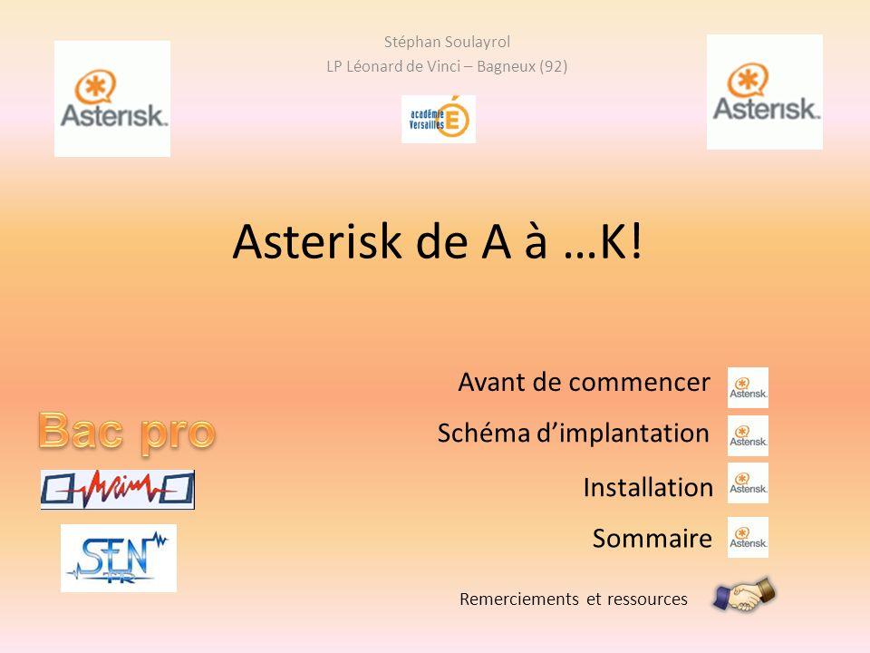 Asterisk de A à …K! Stéphan Soulayrol LP Léonard de Vinci – Bagneux (92) Remerciements et ressources Installation Sommaire Avant de commencer Schéma d