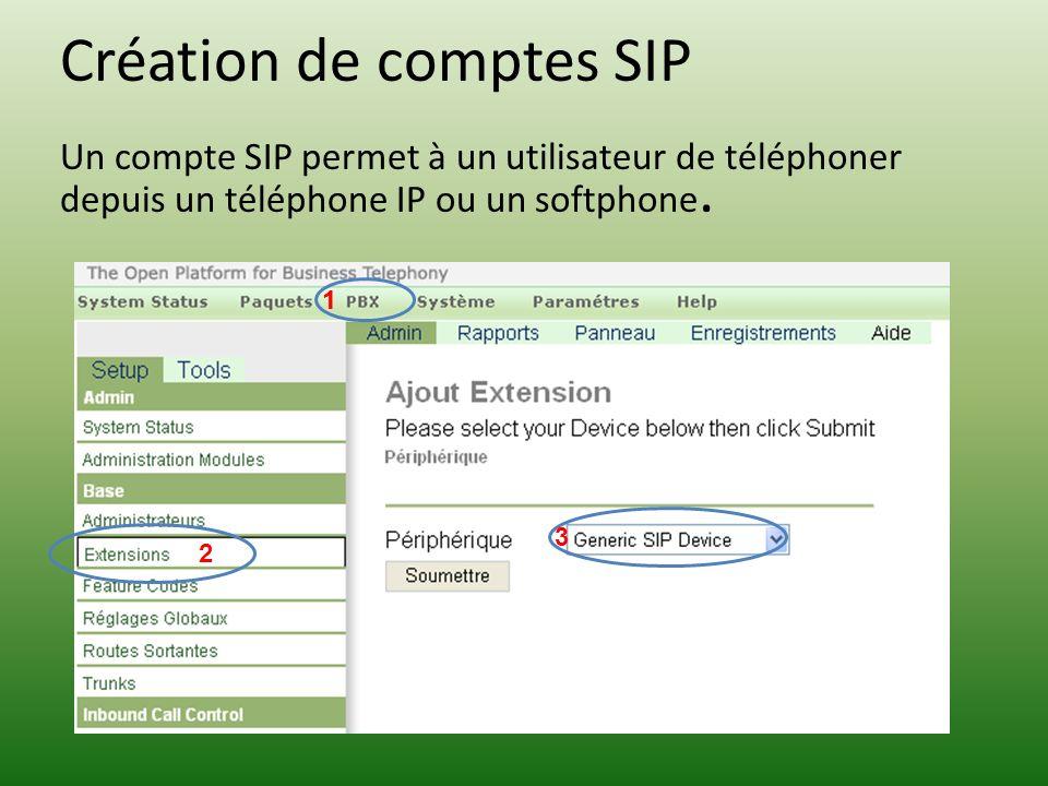 Création de comptes SIP Un compte SIP permet à un utilisateur de téléphoner depuis un téléphone IP ou un softphone. 1 3 2 1